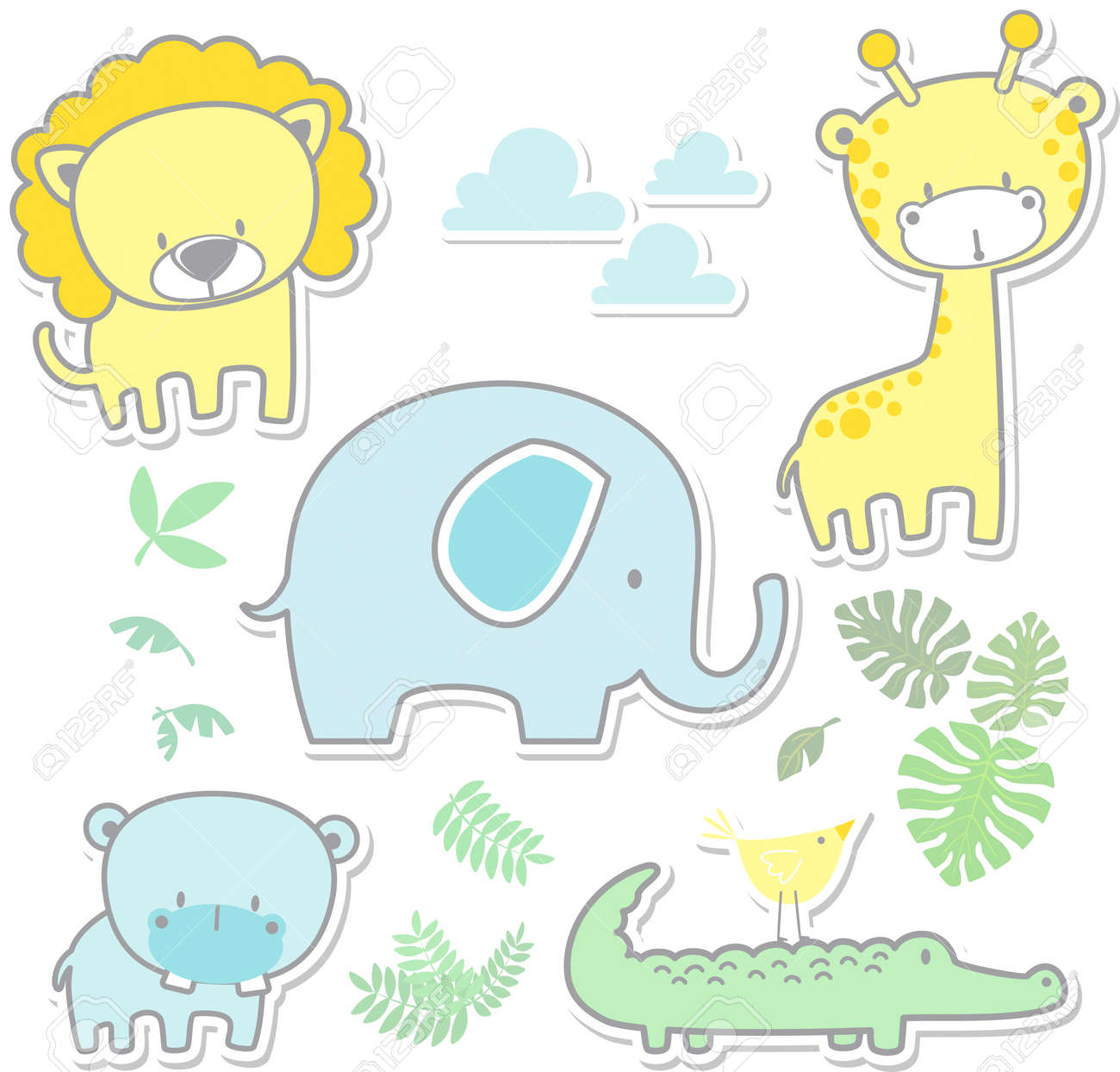 Vector Cartoon Illustration Of Six Cute Baby Animals And Jungle
