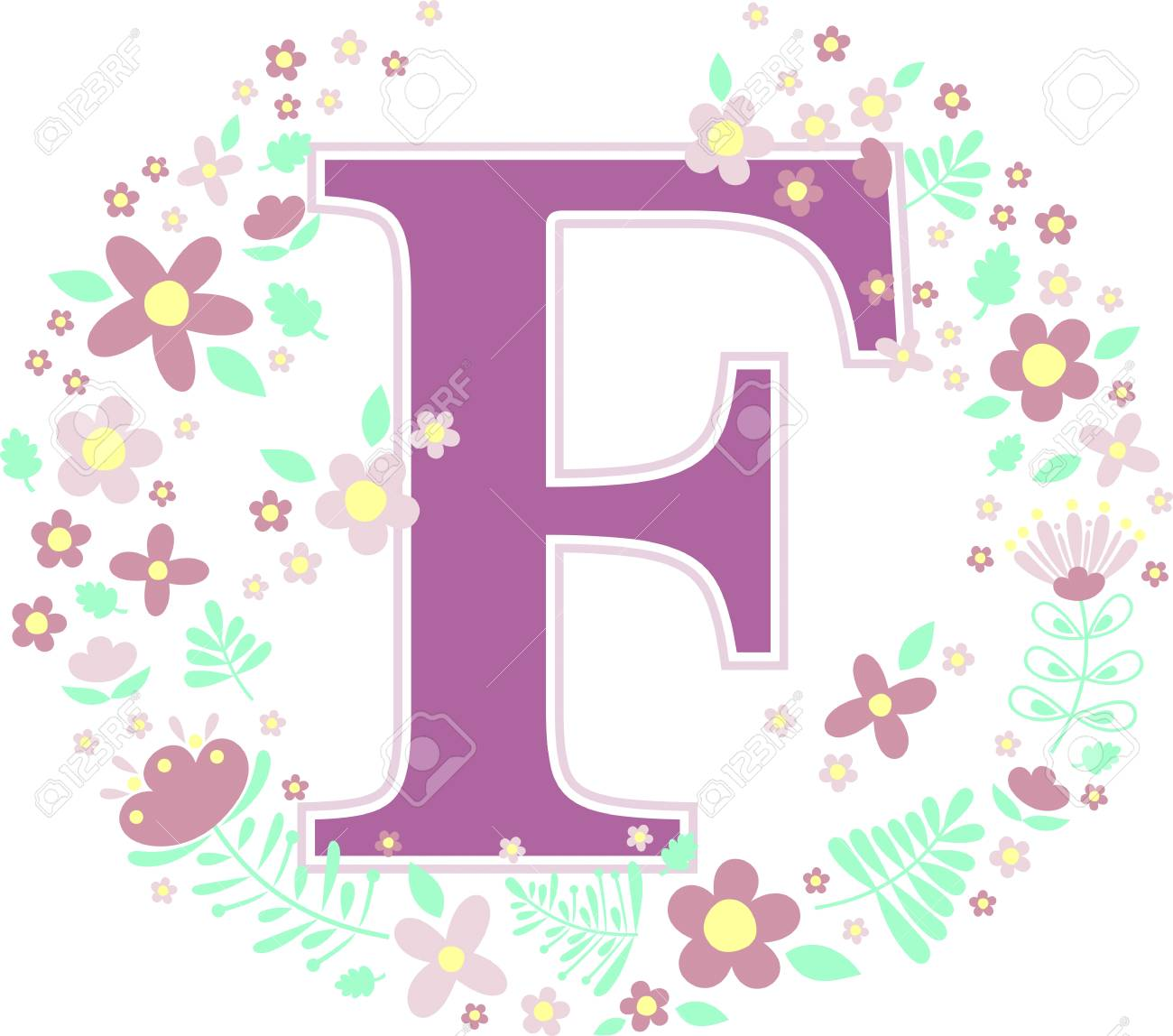 initial letter f with decorative flowers and design elements isolated on  white background. can be 8c2b9dcda93a