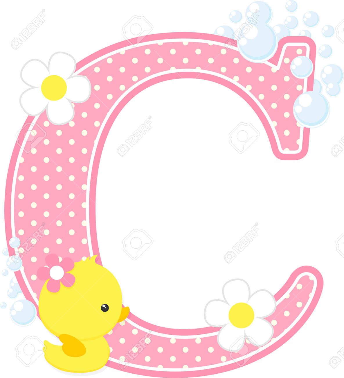 pink dotted letter c initial with flowers and bubbles design royalty