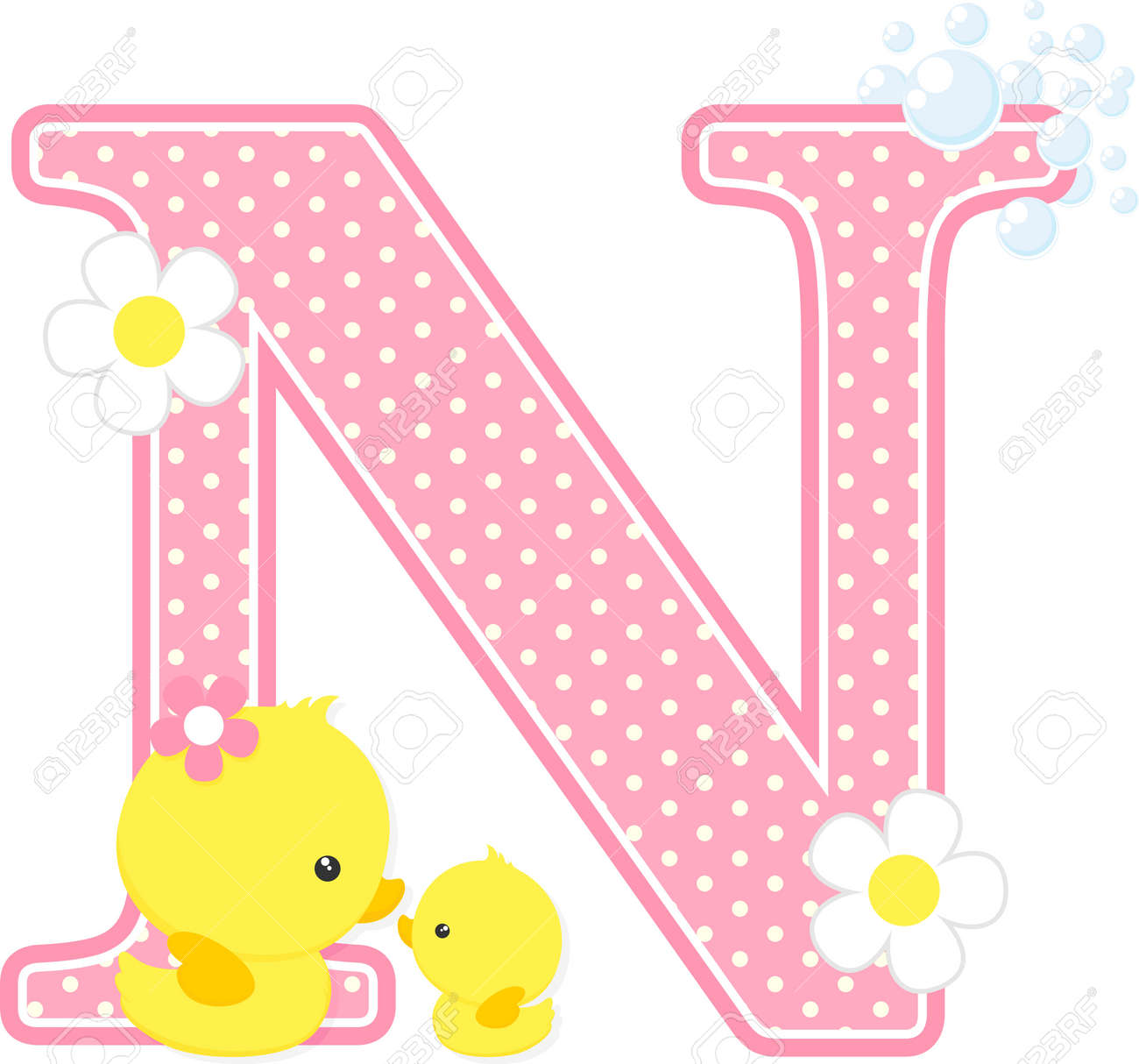 pink dotted letter n initial with flowers and bubbles design royalty