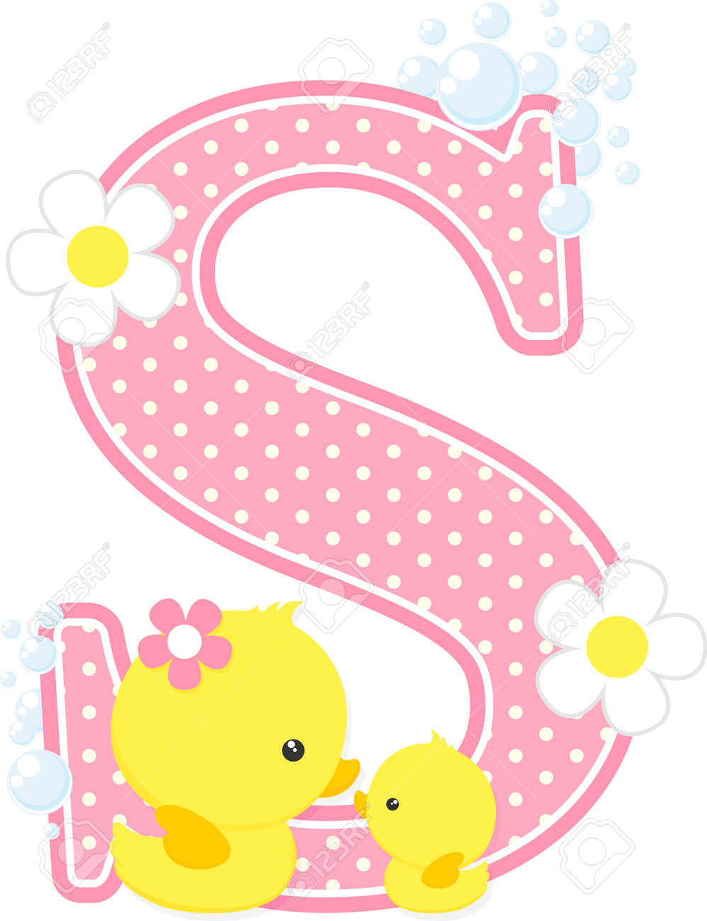 Pink Dotted Letter S Initial With Bubbles And Flowers Royalty Free