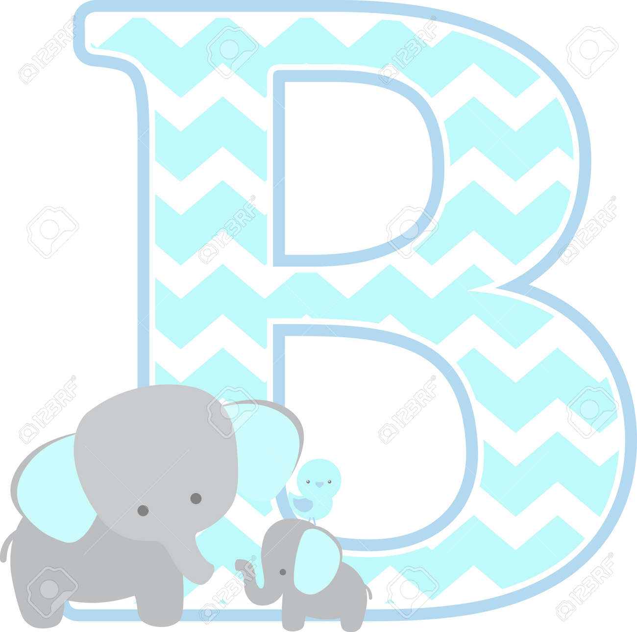 9a762b3ec5136 initial b with cute elephant and little baby elephant isolated..