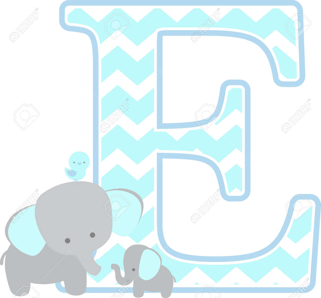 initial e with cute elephant and little baby elephant isolated