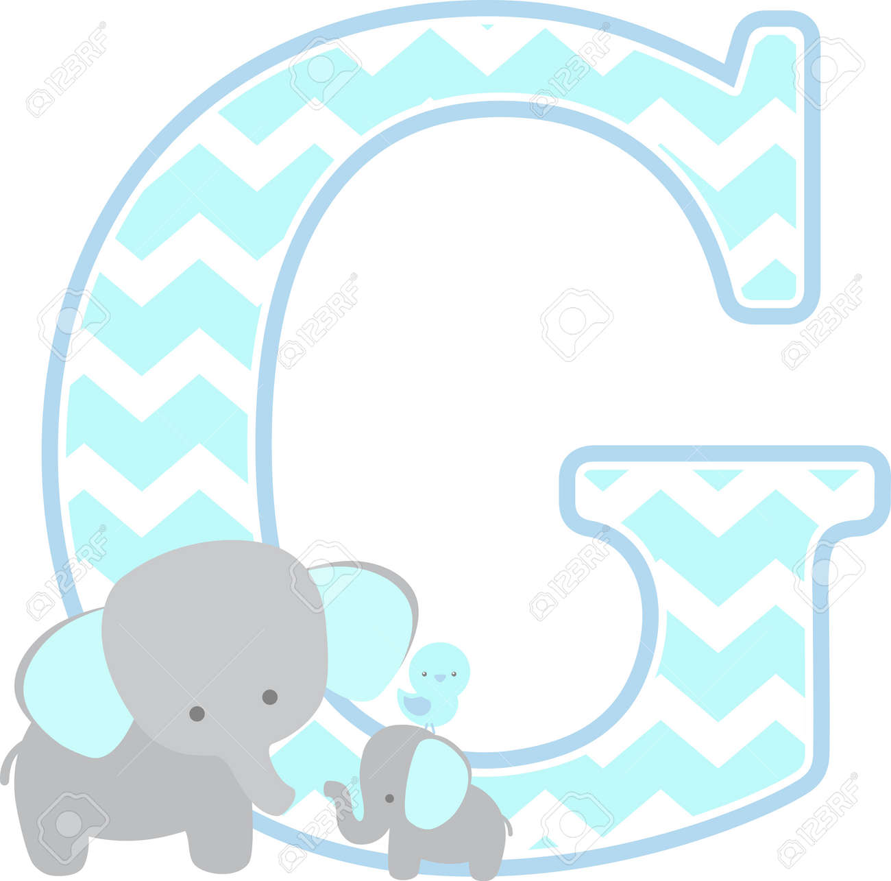 1c6a208db95f4 initial g with cute elephant and little baby elephant isolated..