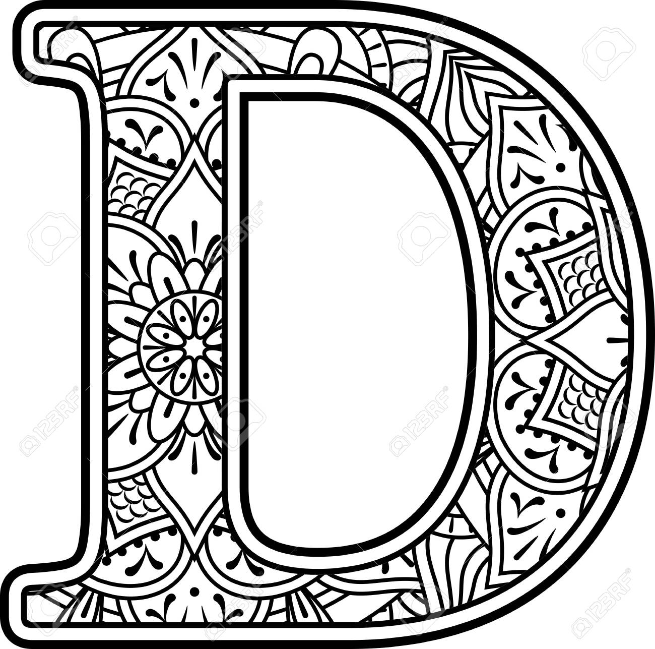 initial d in black and white with doodle ornaments and design elements from mandala art style for coloring. Isolated on white background - 131793542