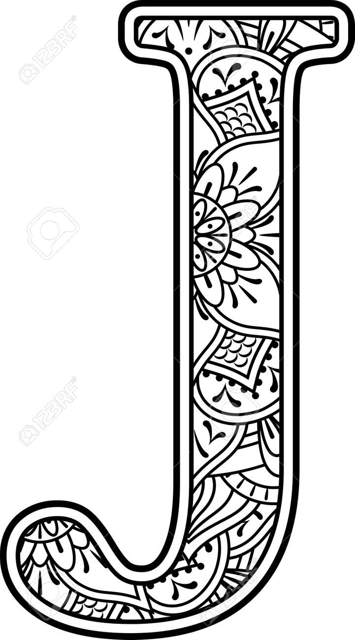 initial j in black and white with doodle ornaments and design elements from mandala art style for coloring. Isolated on white background - 131793221