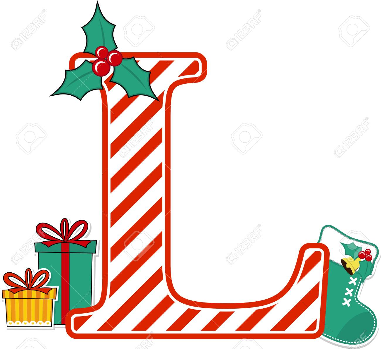 capital letter l with red and white candy cane pattern and christmas design elements isolated on white background. can be used for holiday season card, nursery decoration or christmas paty invitation - 133824864