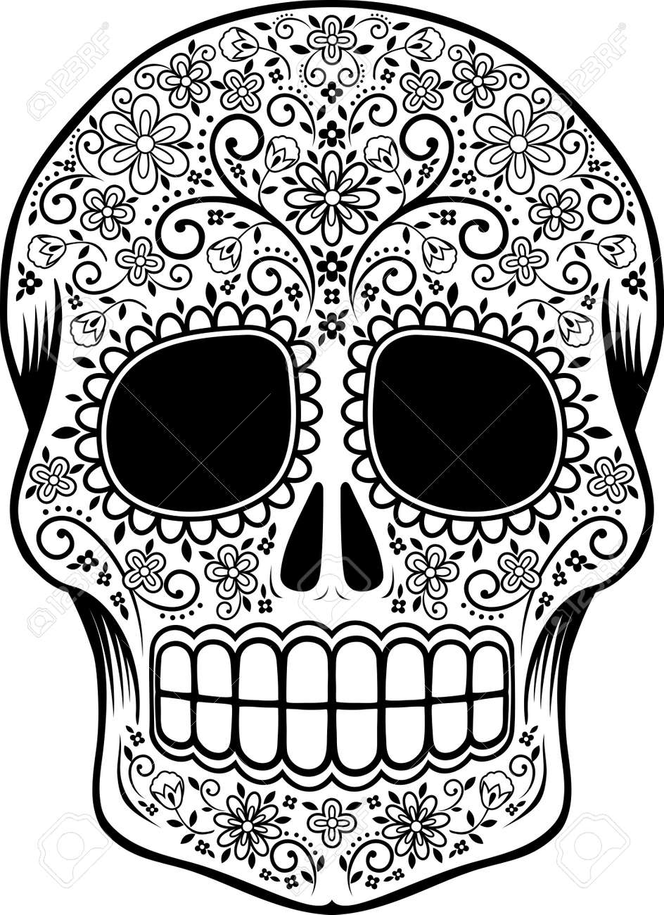 - Mexican Sugar Skull With Flowers And Design Elements Isolated