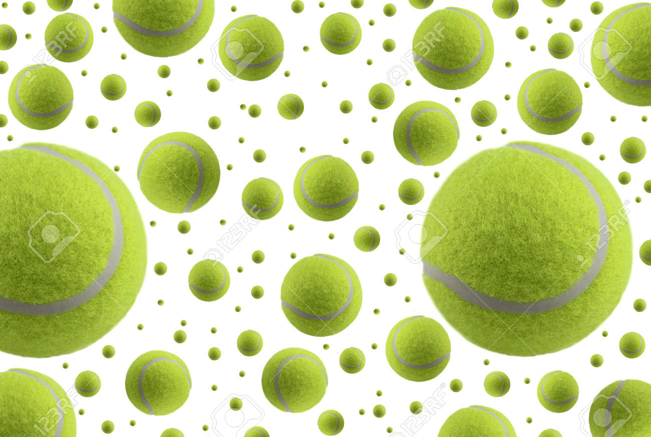 Tennis Balls Rain Isolated On White Background Stock Photo Picture