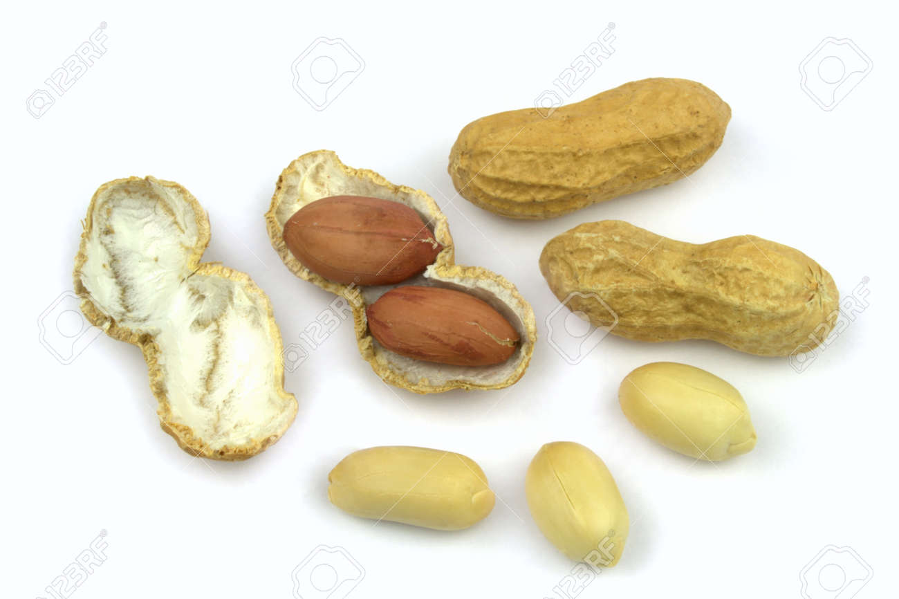 Peanuts and opened shell on a white background Stock Photo - 13270413