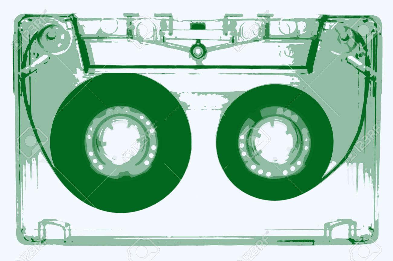 オーディオ カセット テープ イラスト 緑 の写真素材画像素材