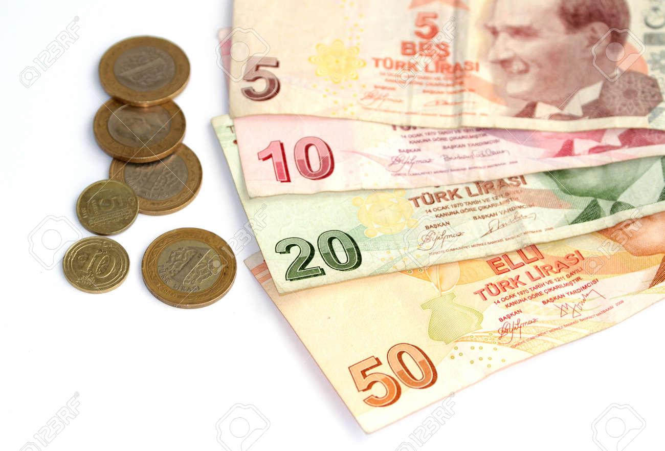 Türkische Lira Banknoten Und Münzen Lizenzfreie Fotos Bilder Und