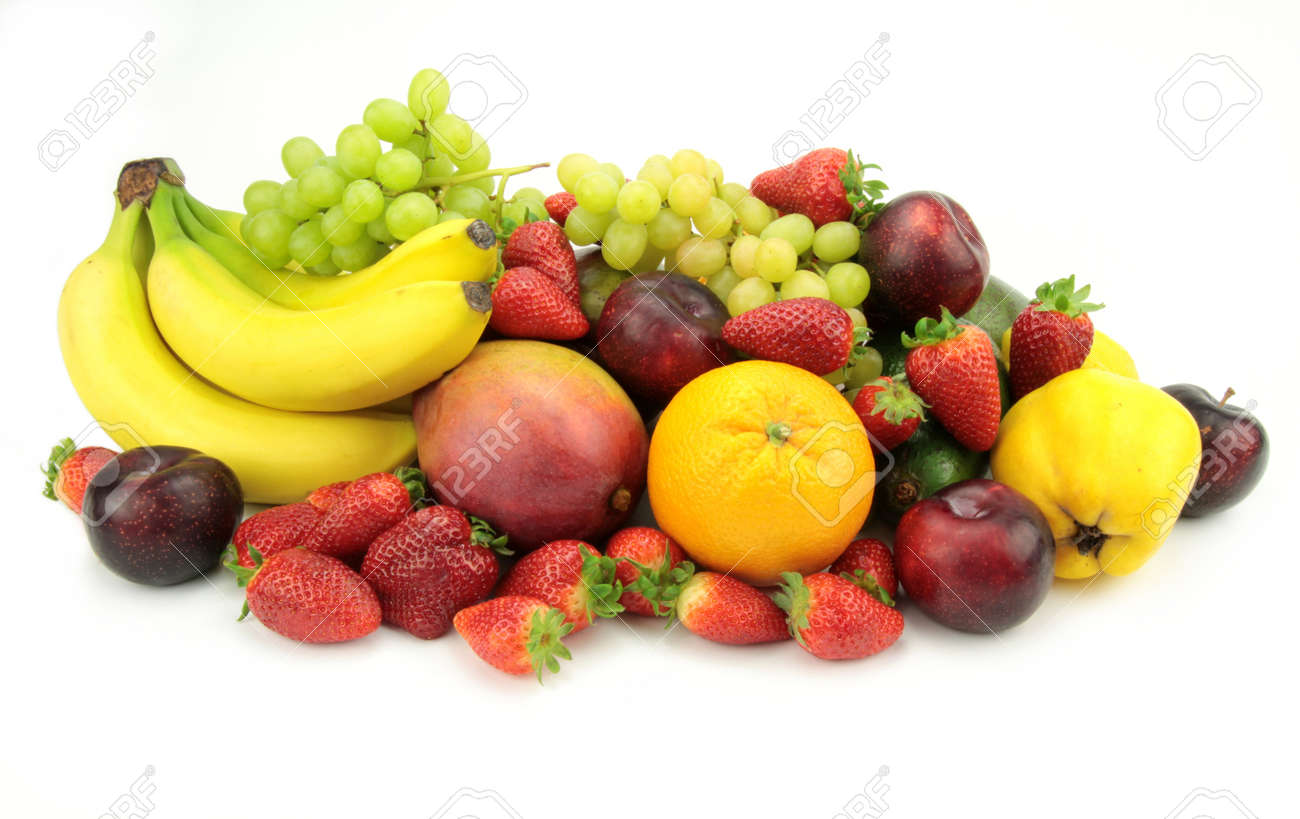 Colorful Fruit Mix Isolated On White Background