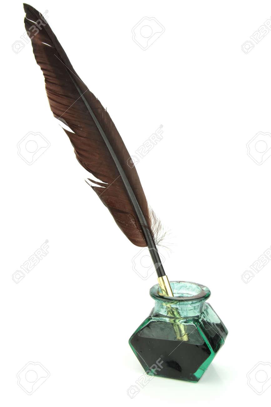 ガラスのインク瓶の羽根ペン ロ...