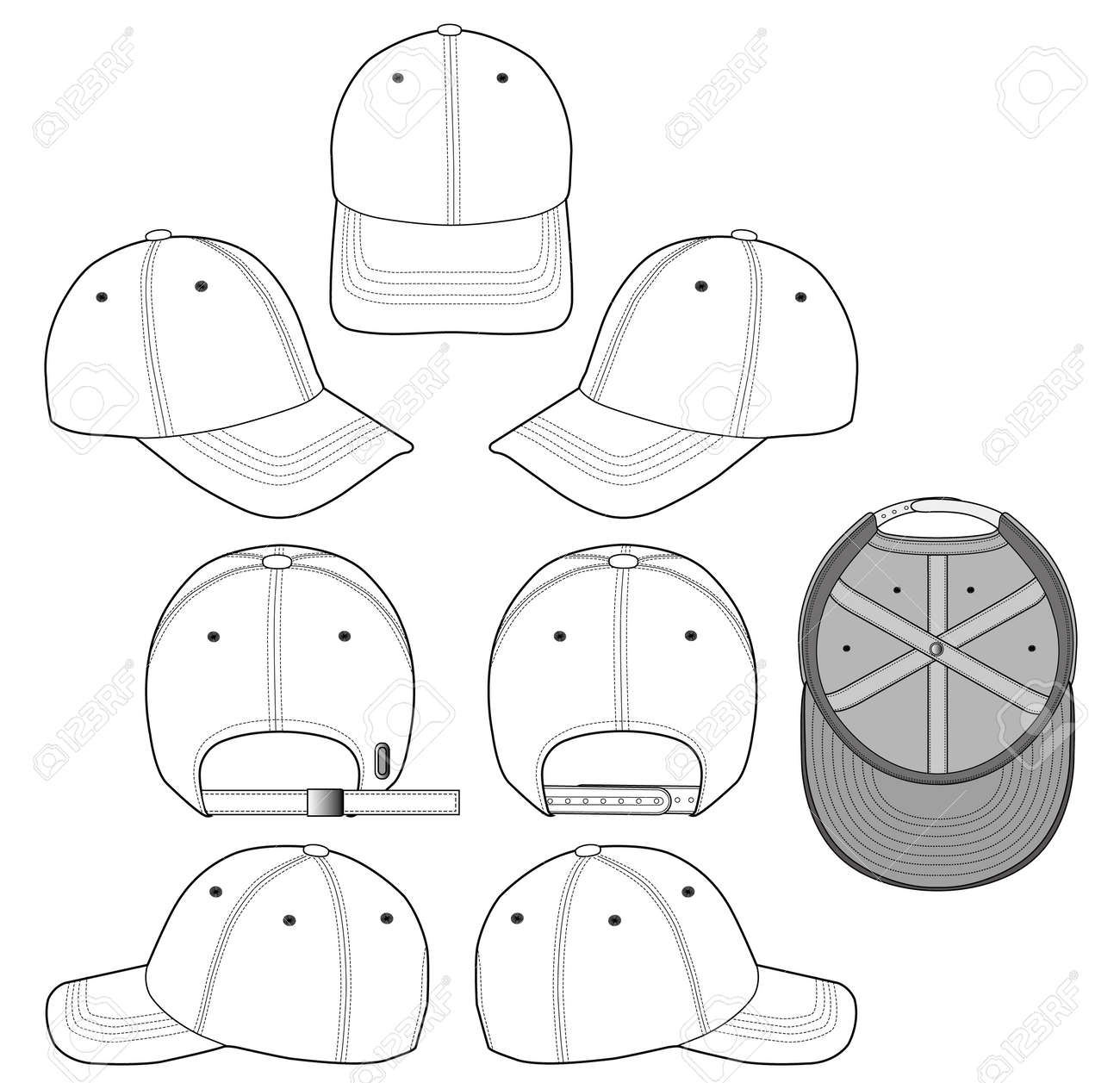 baseball cap vector illustration flat sketches template royalty free