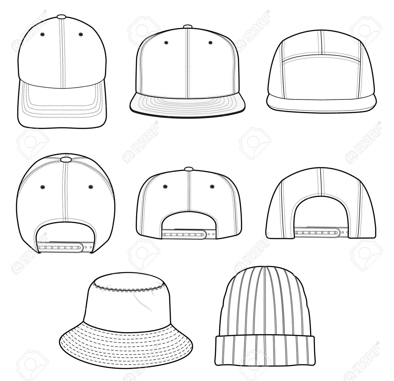 a3ec36877e8 Hat beanie design illustration flat sketches template Stock Vector -  113927455