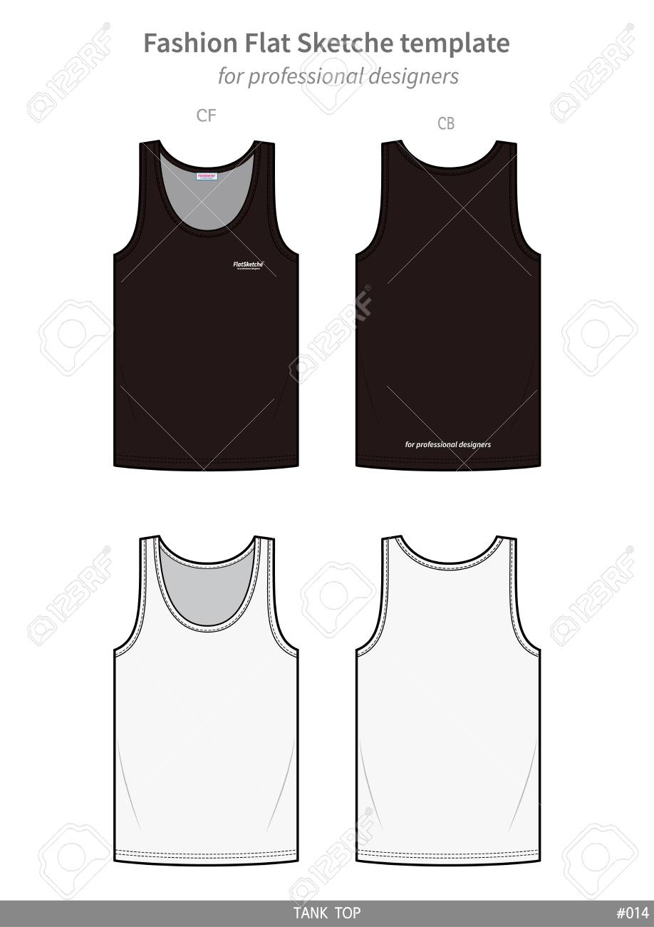 Sleeveless Tank Top Fashion Flat Technical Drawing Template Royalty