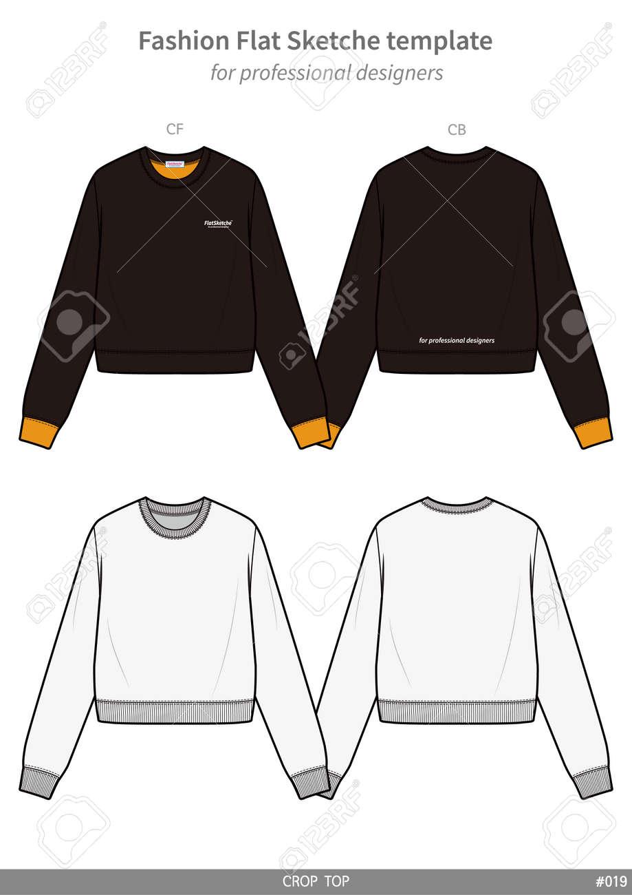 d69e84a64a601d Crop top tee fashion flat technical drawing template Stock Vector -  114374012