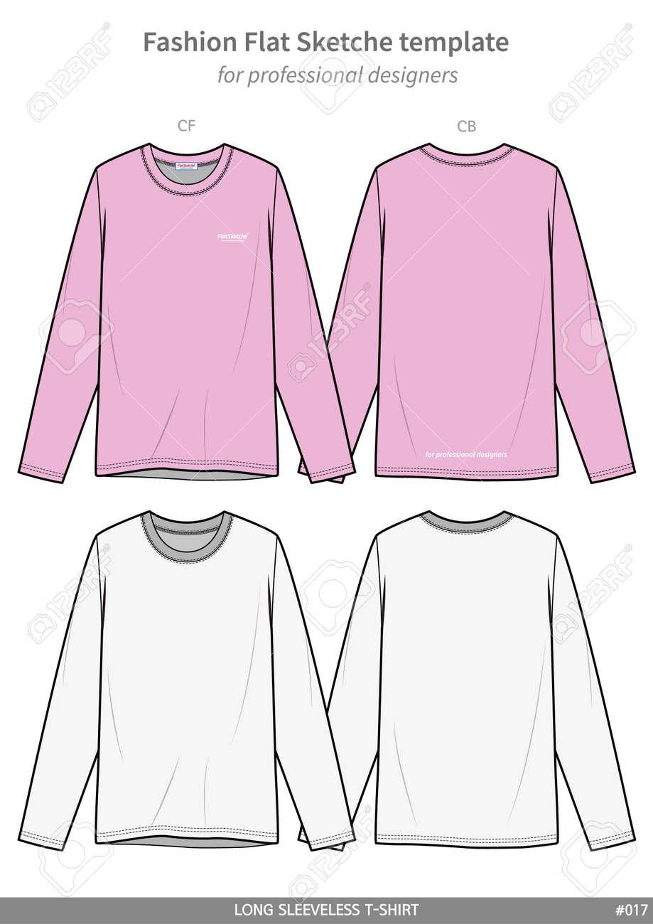 861447b9 LONG SLEEVE T-SHIRTS fashion flat technical drawing template Stock Vector -  115723965