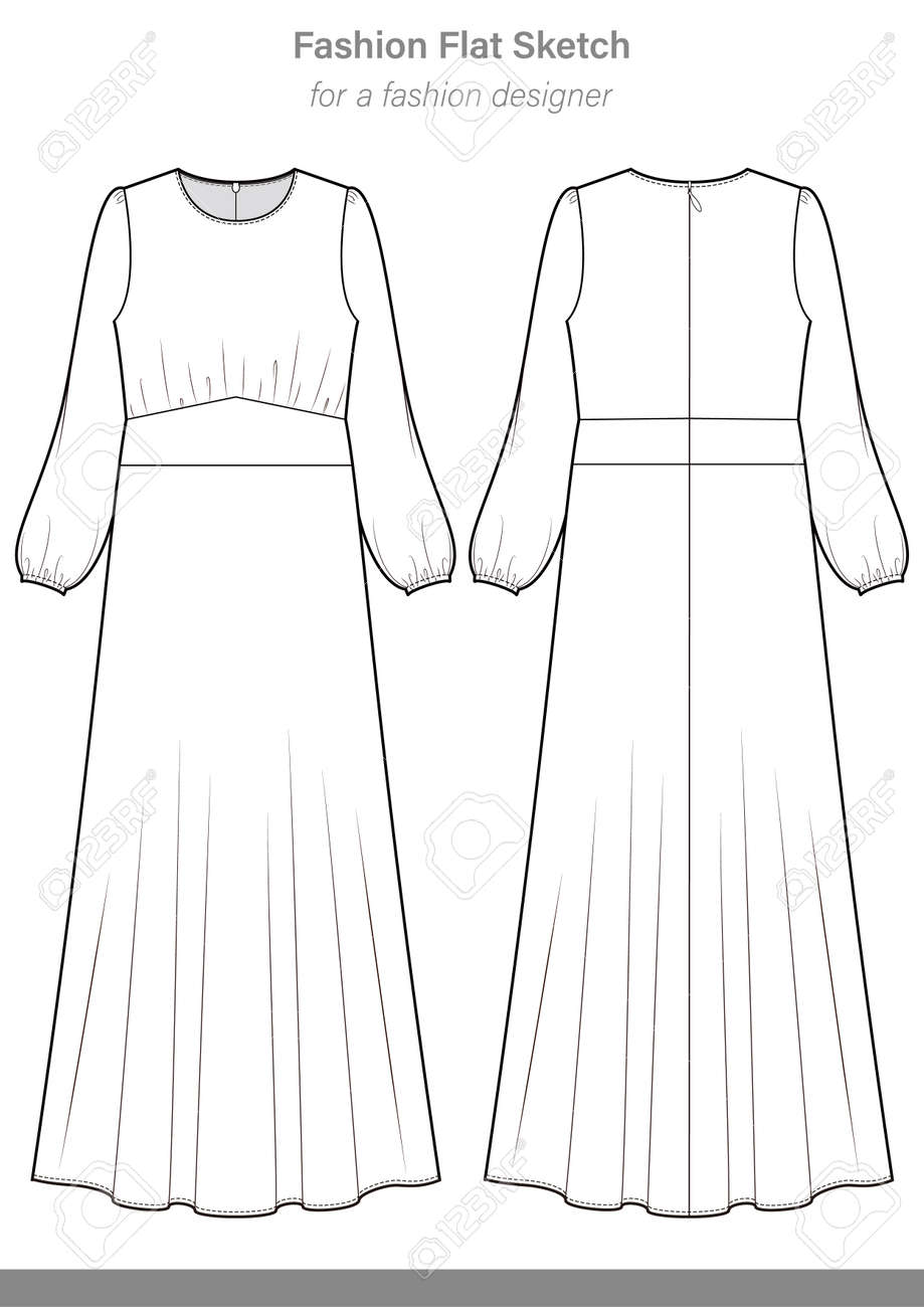 Dress Fashion Flat Technical Drawing Template Royalty Free Cliparts Vectors And Stock Illustration Image 114372923