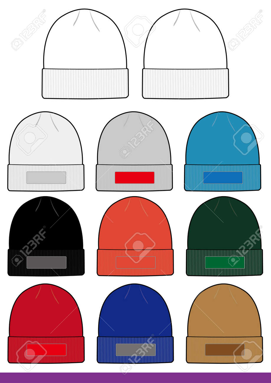 Beanie Template | Beanie Set Fashion Flat Sketch Template Royalty Free Cliparts
