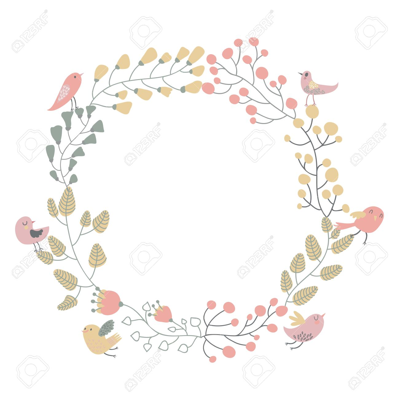 Vector Vintage Simple Floral Round Border Stock