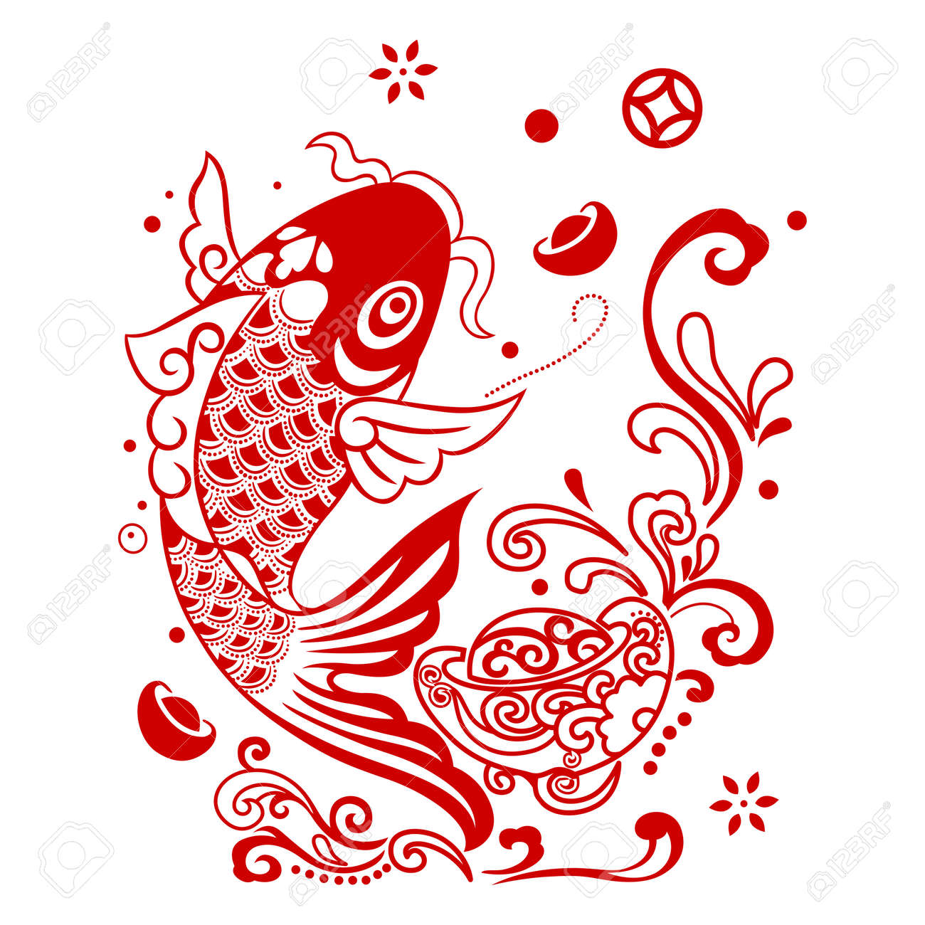 vector chinese fortune fish jumping out of water royalty free