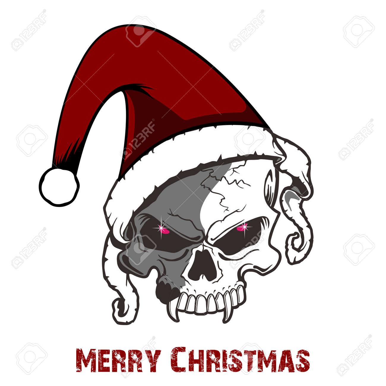 Schädel Trägt Hut Weihnachten Für Weihnachten Lizenzfrei Nutzbare ...
