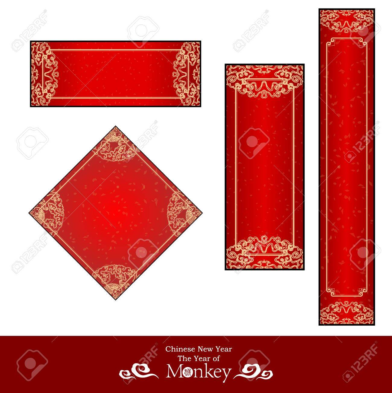vector vector chinese new year red banner template collections