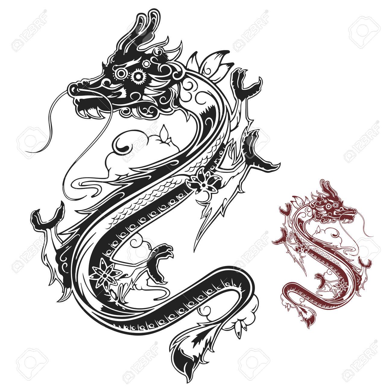 Vecteur Elegant Chinois Tatouage De Dragon Noir Et Blanc Clip Art