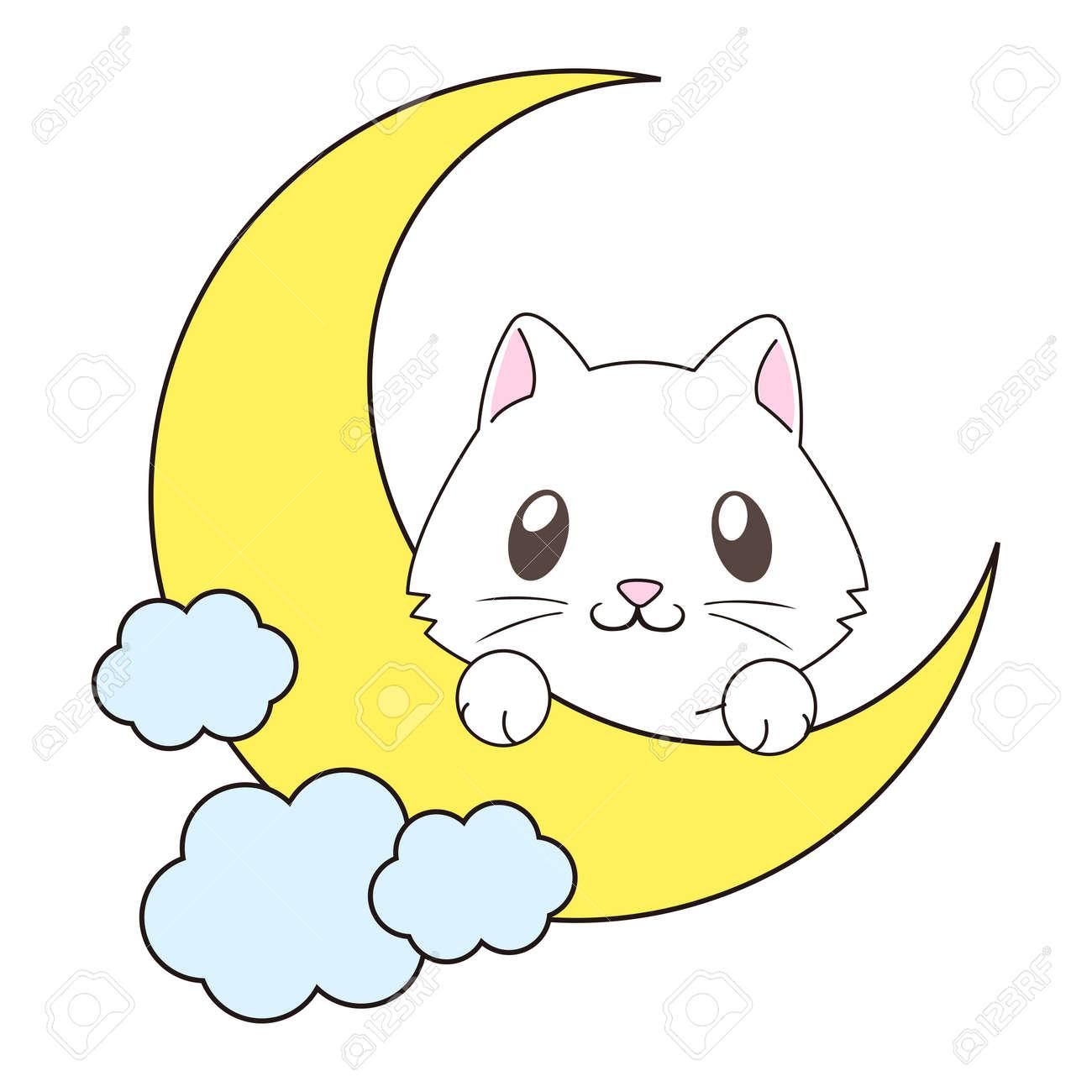 vector cute cartoon cat on the moon illustration royalty free rh 123rf com cartoon cat images black and white cartoon cat images free download