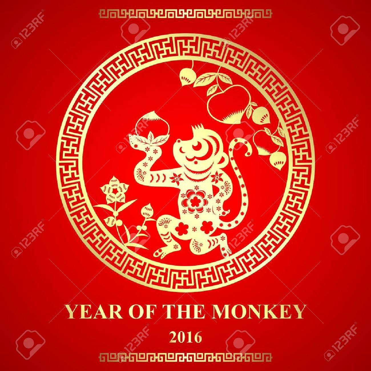 vector chinese paper cutting style monkey ornament for lunar new year year of monkey stock - Chinese New Year Year Of The Monkey