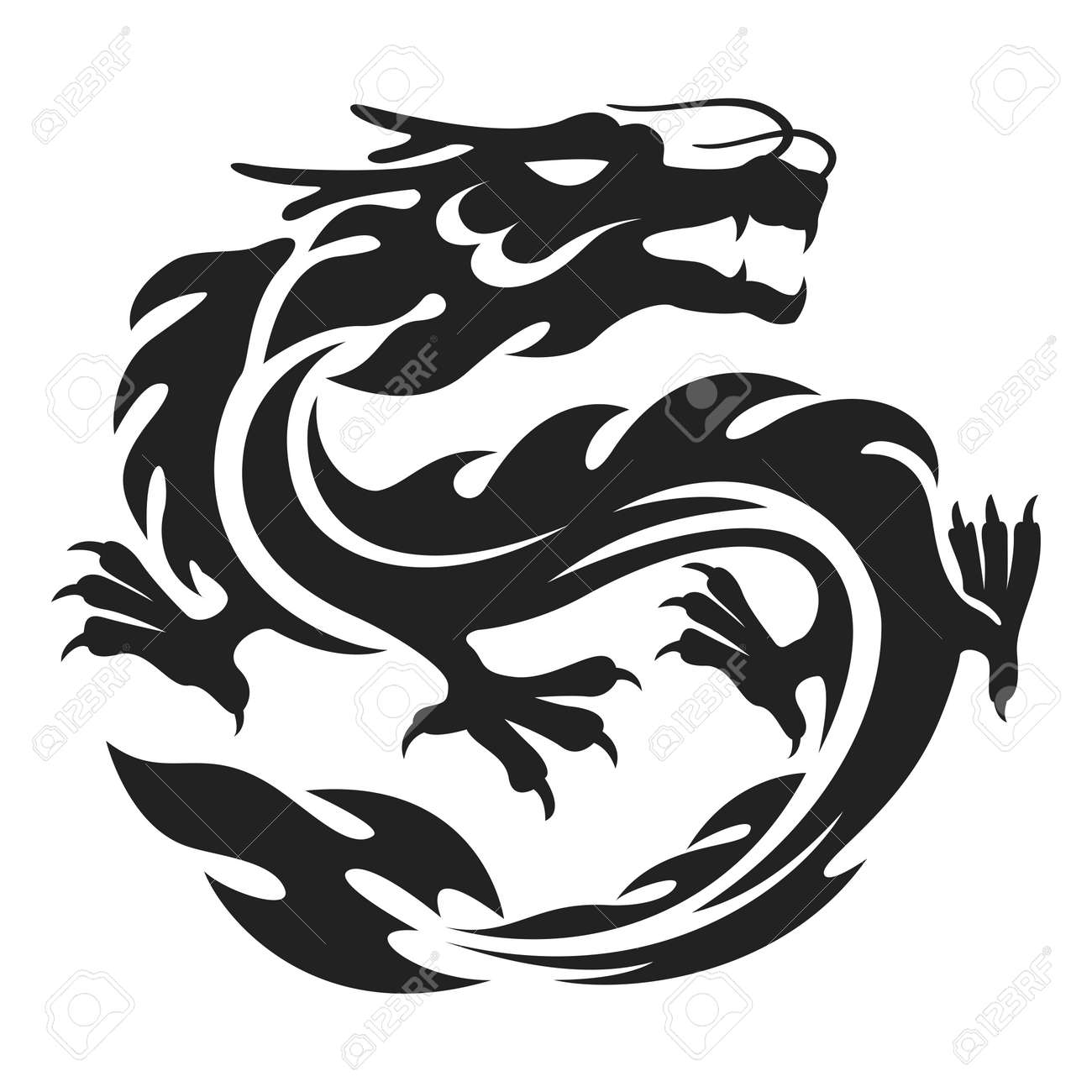 vector chinese dragon tattoo illustration isolated on white royalty rh 123rf com chinese dragon vector free chinese dragon vector free