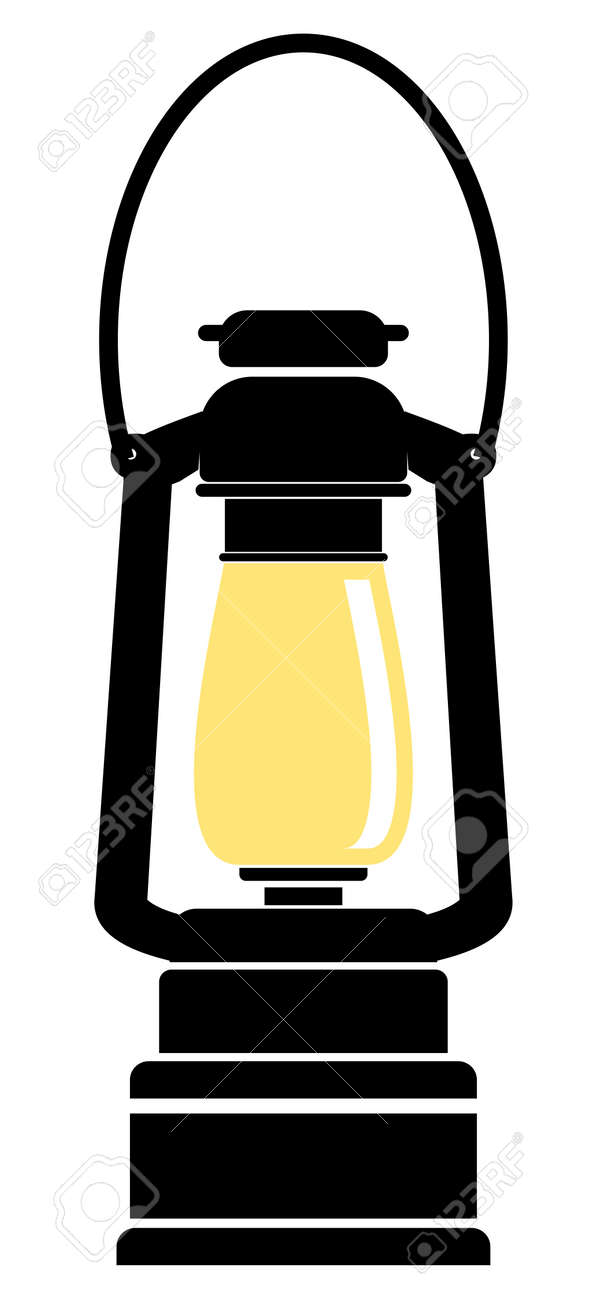 Vector Simple Oil Lamp Flat Illustration, Two Colors Drawing ...