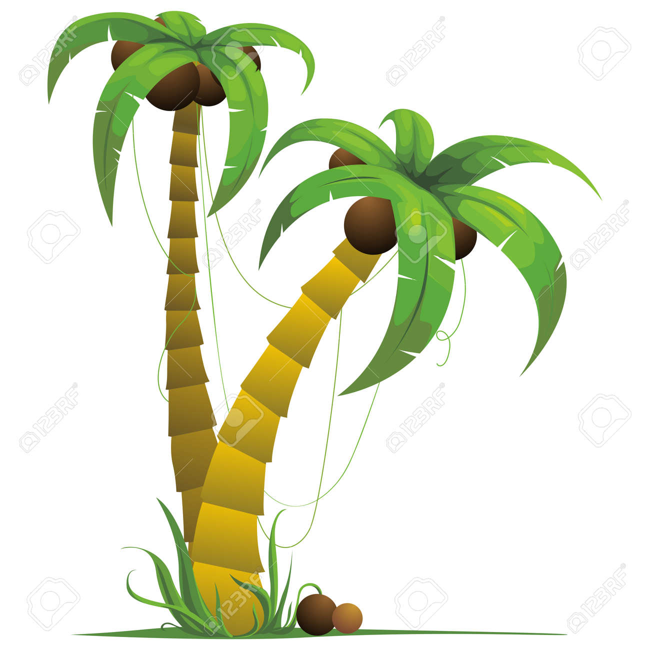 Simple 3D Coconut Tree, Palm Tree Illustration Royalty Free Cliparts ...