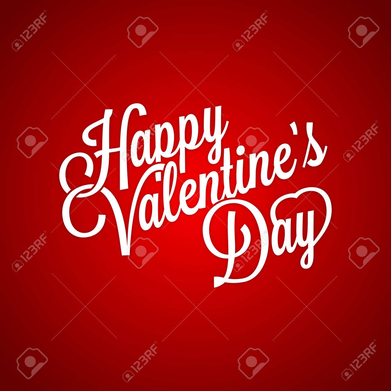 Vector Classic Happy Valentines Day Typographic Nostalgic Cursive