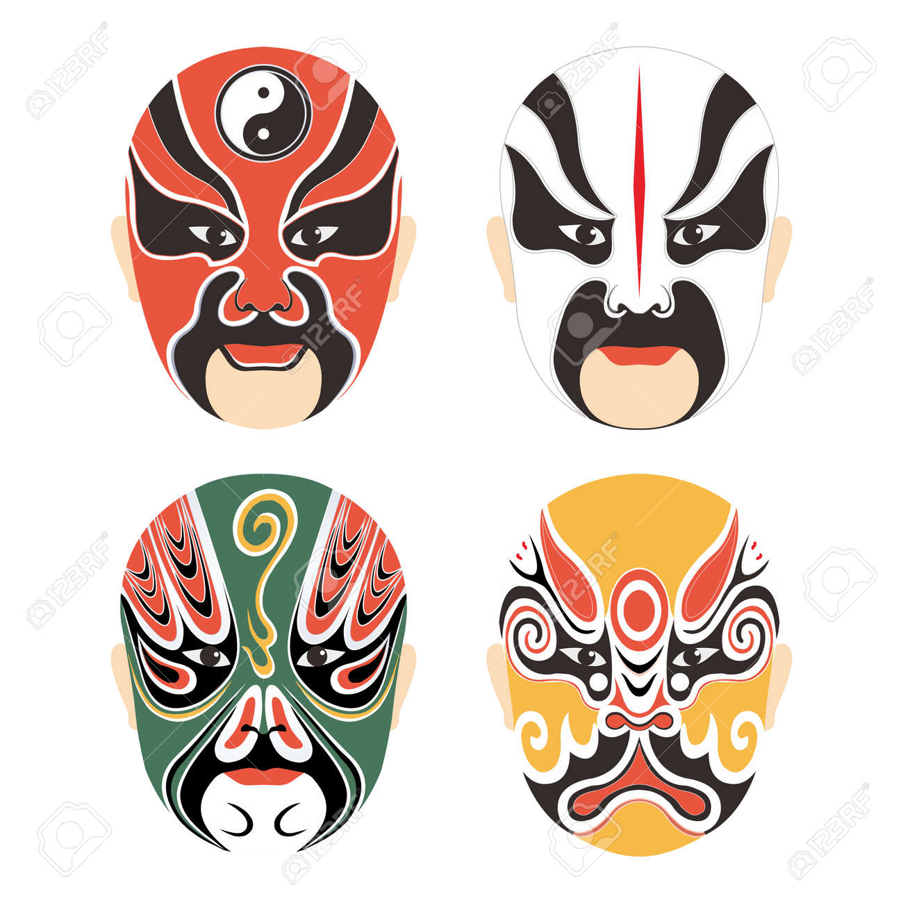 Vector Traditional Chinese Cultural Opera Mask Set Collection