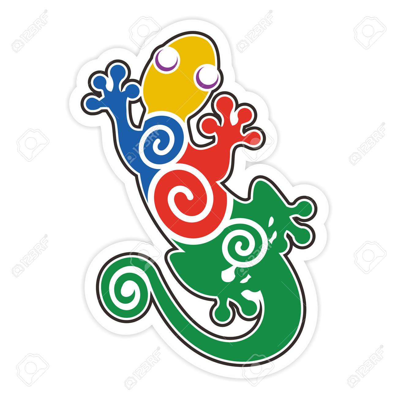 vector artistic colorful salamander silhouette illustration