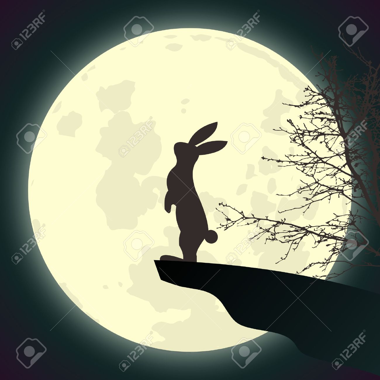 Vector Rabbit Worshiping Full Moon Standing At Cliff End Night