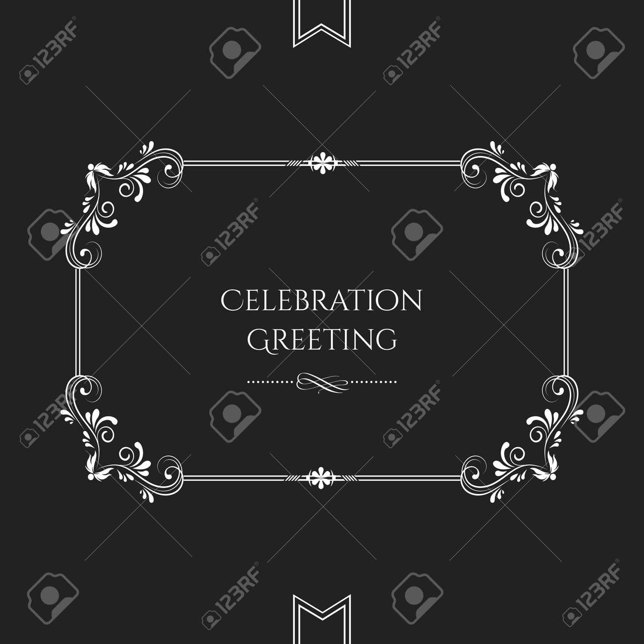 Vector classic floral scroll invitation card template on black vector vector classic floral scroll invitation card template on black background stopboris Gallery
