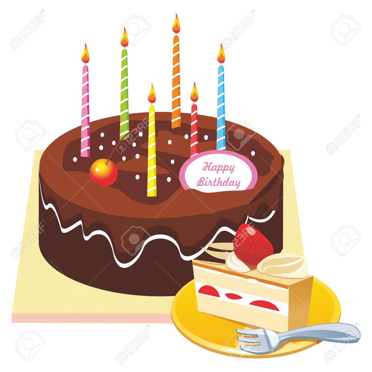 Vector Chocolate Coated Happy Birthday Cake Illustration And