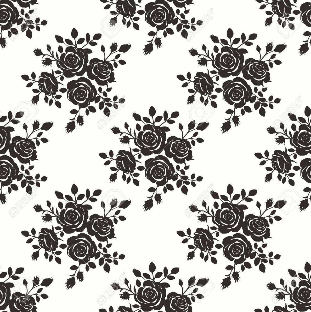Vector Seamless Repeating Monochrome Black Color Vintage Rose Pattern Illustration Background - 57253197
