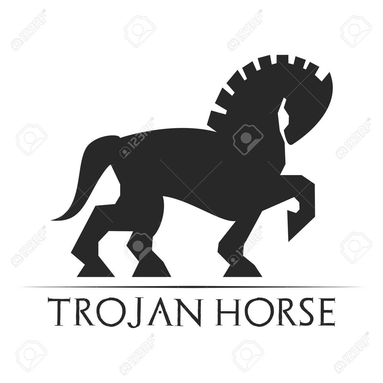 Vector Retro Artistic Monochrome Trojan Horse Isolated On White Royalty Free Cliparts Vectors And Stock Illustration Image 61601455