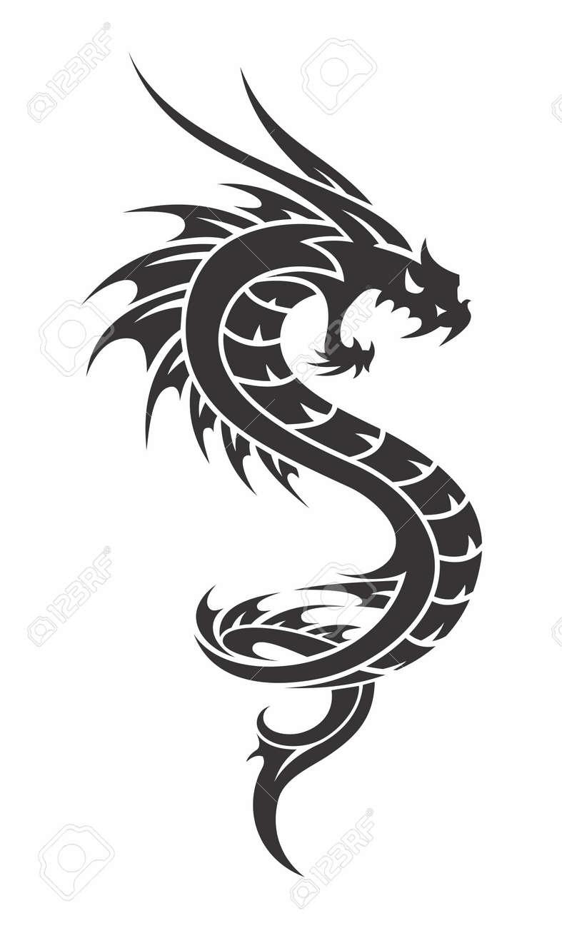 Vector Stylish Monochrome Dragon Tattoo Isolated On White Background