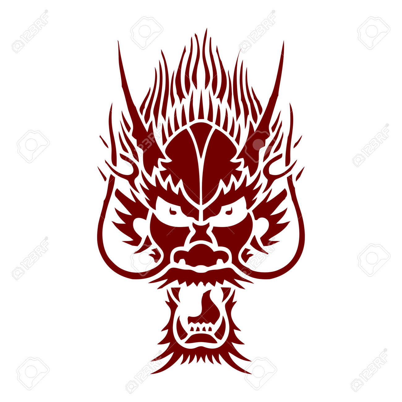 b34eeed47 Vector Monochrome Chinese Dragon Face Tattoo, isolated on white background Stock  Vector - 61601516