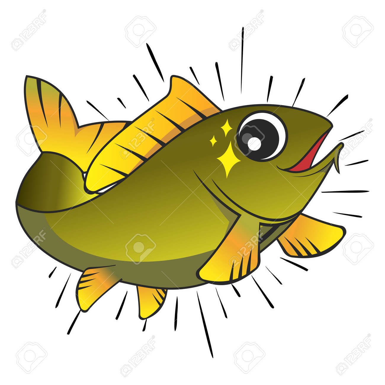 Freshwater fish jumping - Bass Fish Jumping Vector Smart Happy Cartoon Fish Jumping Out Of Water Isolated On White