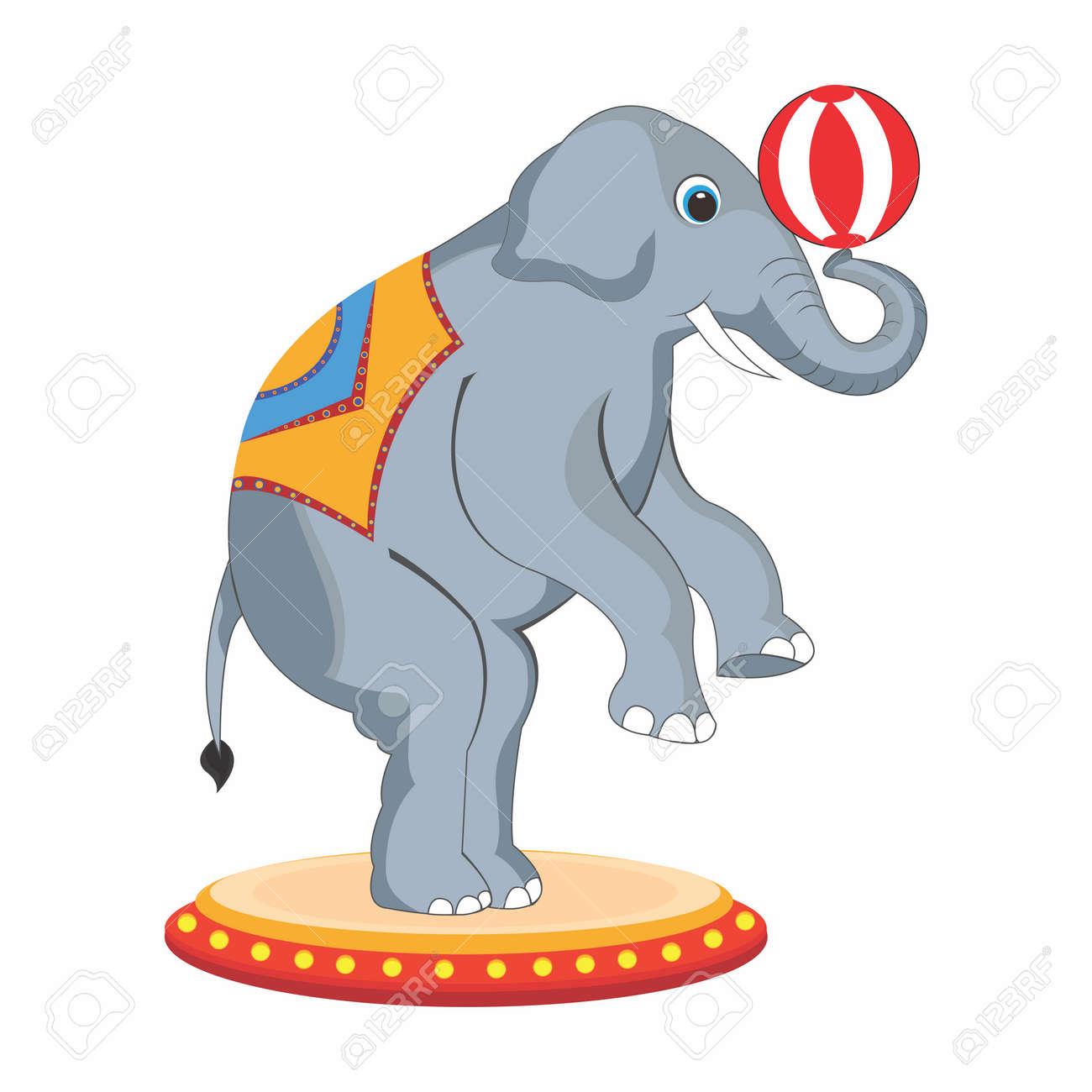 vector adorable cartoon circus elephant back legs standing rh 123rf com circus elephant clipart black and white