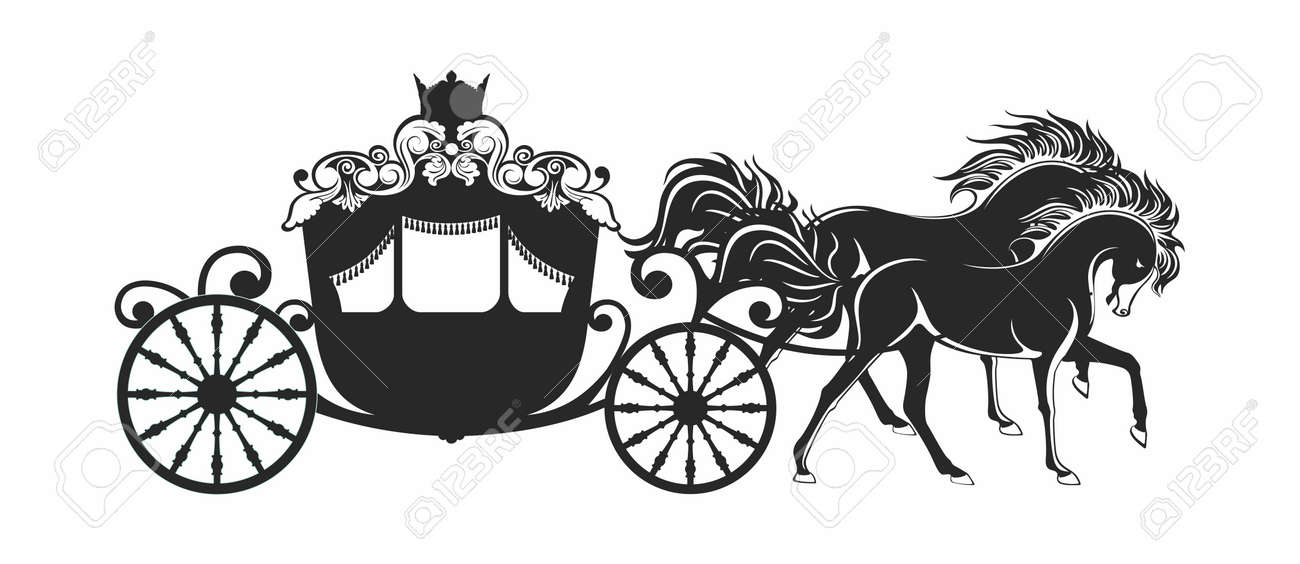 Vector Luxury Horse Carriage Of Fantasy Princess Outline Silhouette