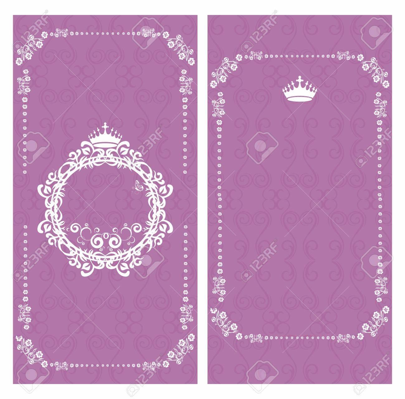 Vector Floral Violet Purple Banner Background Greeting Card Invitation Template Layout Design
