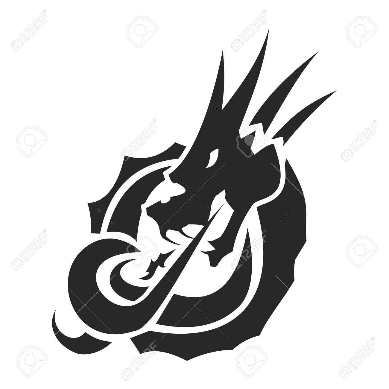 vector monochrome artistic dragon emblem logo fire breathing